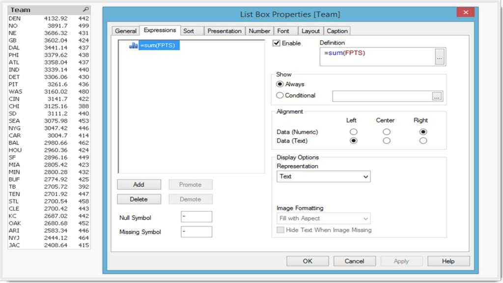 Qlikview List Box