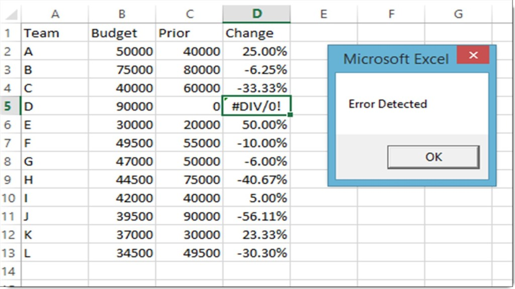 Excel VBA - Error Scan