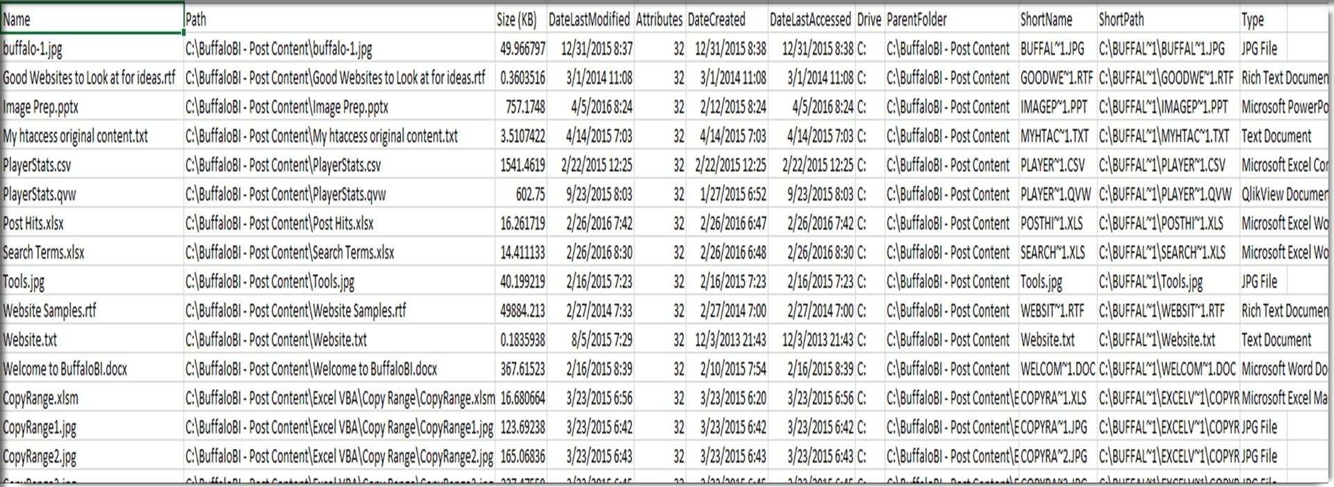 Excel VBA List Files in Folders and Subfolders - BuffaloBI com