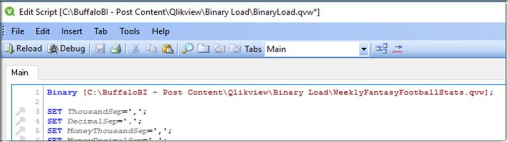 Qlikview Binary Load