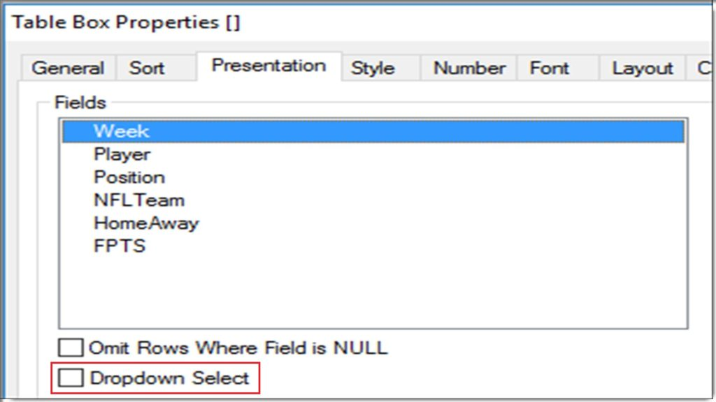 Qlikview Dropdown Select Column in Table Box