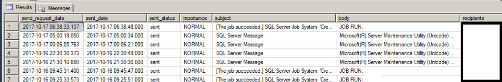 SQL Query Database Mail History